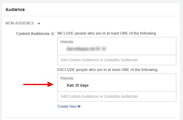 Facebook ads manager ekskludering af kunder