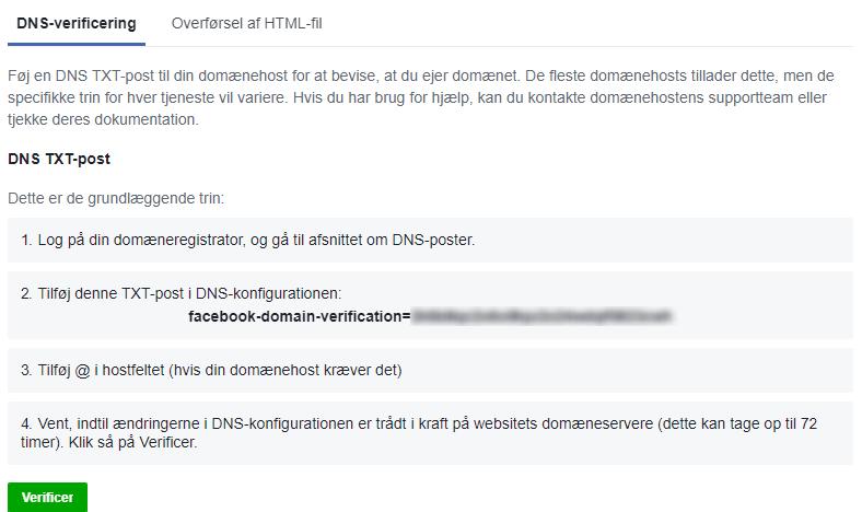 Verificering af domæne i Facebook gennem DNS-verificering