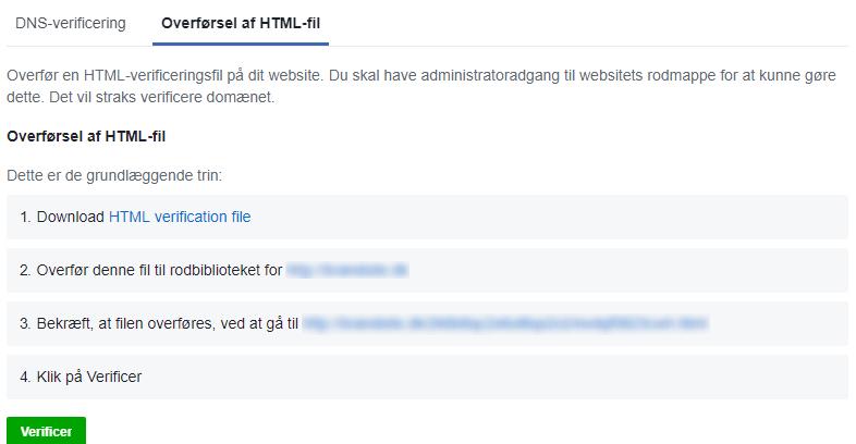 Verificering af domæne i Facebook gennem upload af HTML-fil