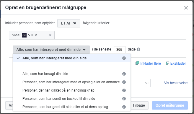 Page Engagement Facebook målgruppe