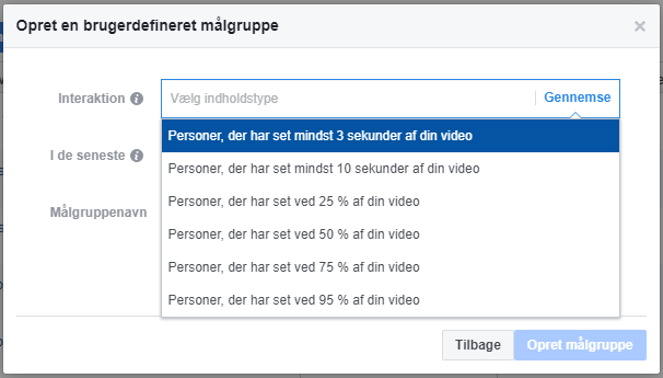 Page Engagement Video views målgruppe