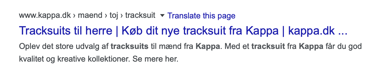 Kappa title og meta beskrivelse eksempel
